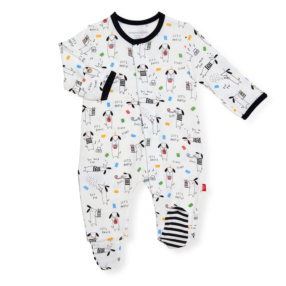 Magnificent Baby, Baby Boy Apparel - Pajamas,  Magnetic Me by Magnificent Baby Raise the Woof Magnetic Footie
