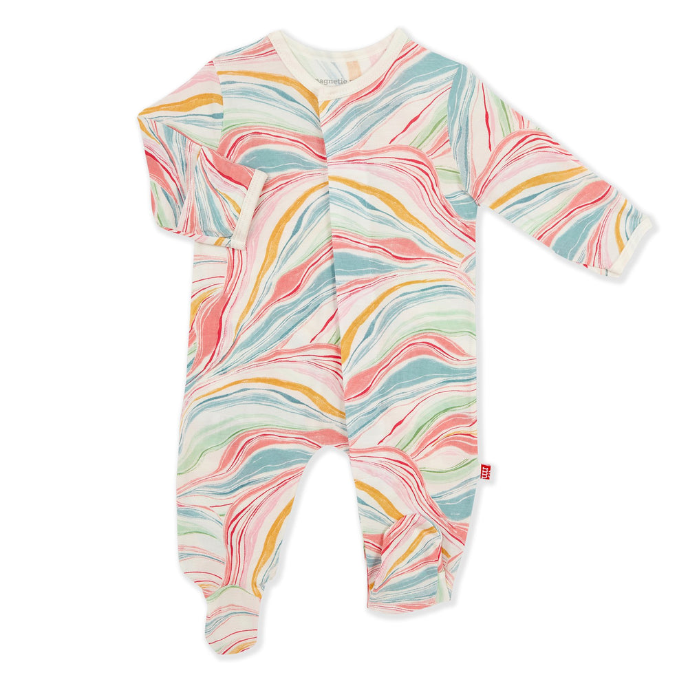 Magnetic Me by Magnificent Baby Twirls & Swirls Modal Magnetic Footie - Eden Lifestyle