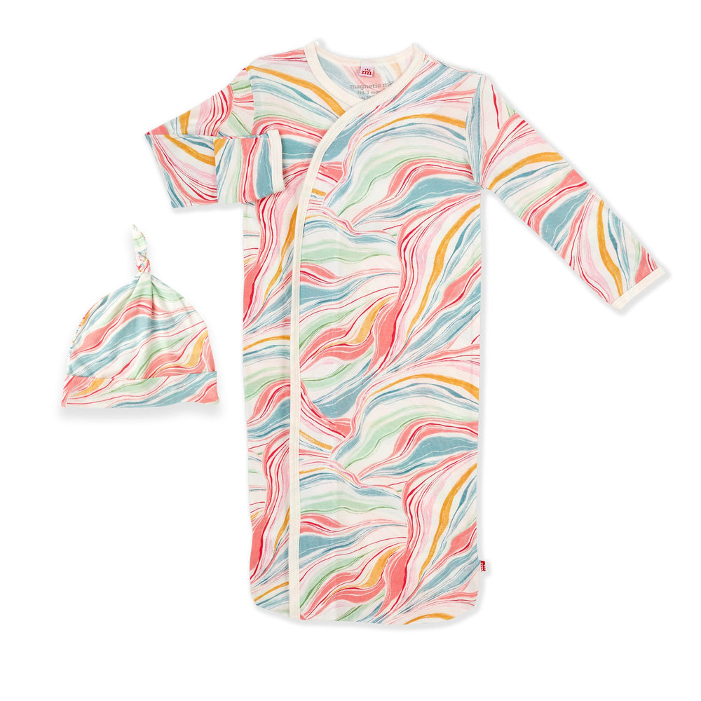 Magnetic Me by Magnificent Baby Twirls & Swirls Modal Magnetic Sack Gown Set - Eden Lifestyle