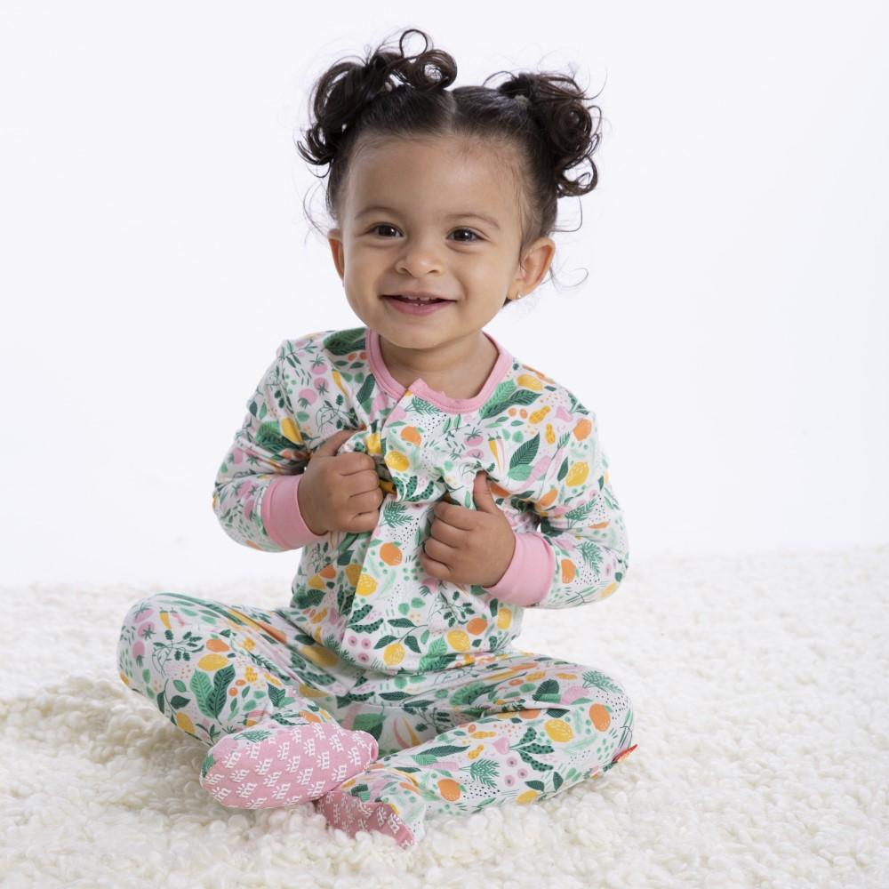 Magnificent Baby, Baby Girl Apparel - Pajamas,  Magnetic Me by Magnificent Baby Lemon Verbena Modal Magnetic Footie