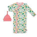 Magnetic Me by Magnificent Baby Lemon Verbena Modal Magnetic Sack Gown with Hat Set