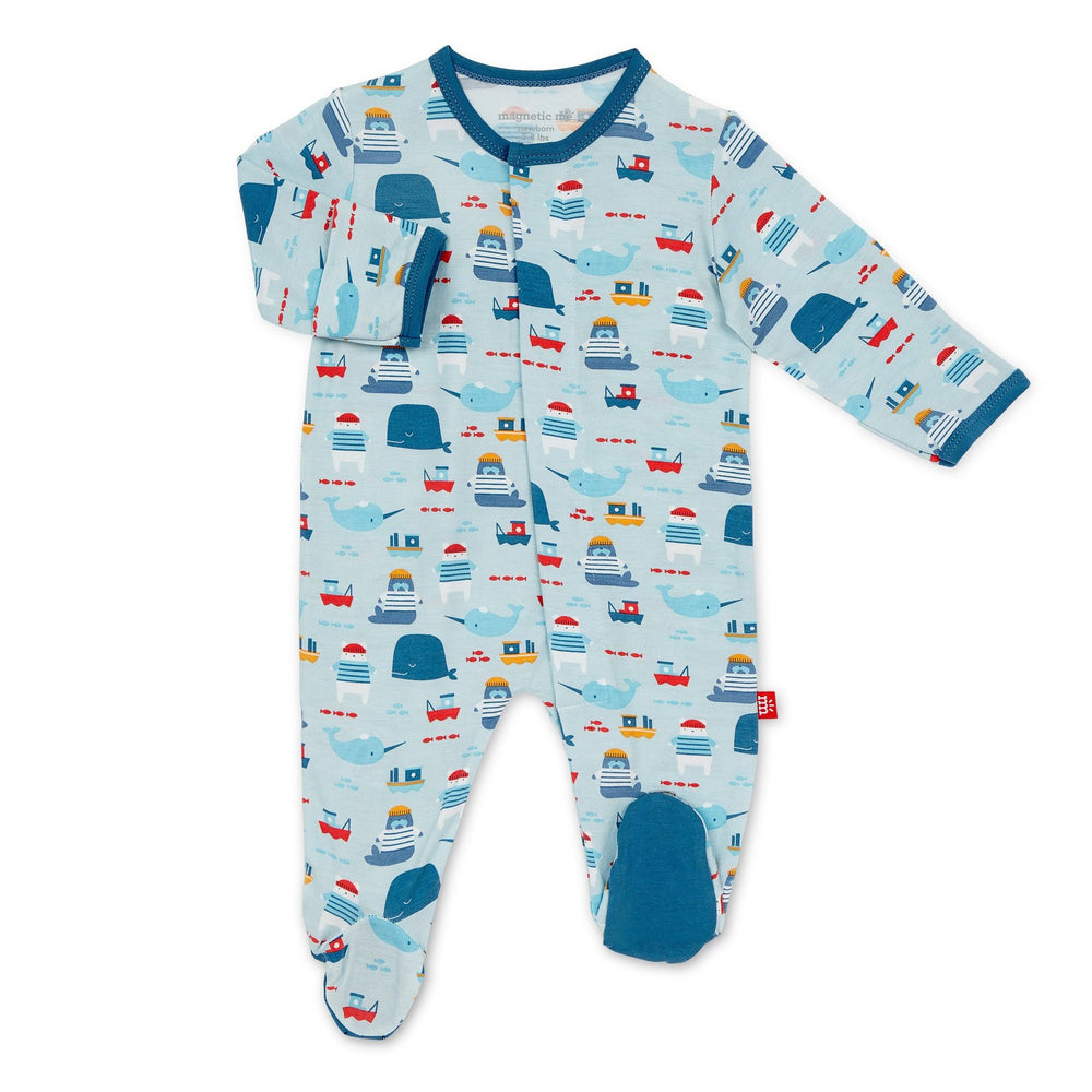 Magnificent Baby, Baby Boy Apparel - Pajamas,  Magnetic Me by Magnificent Baby Oh Buoy! Magnetic Footie