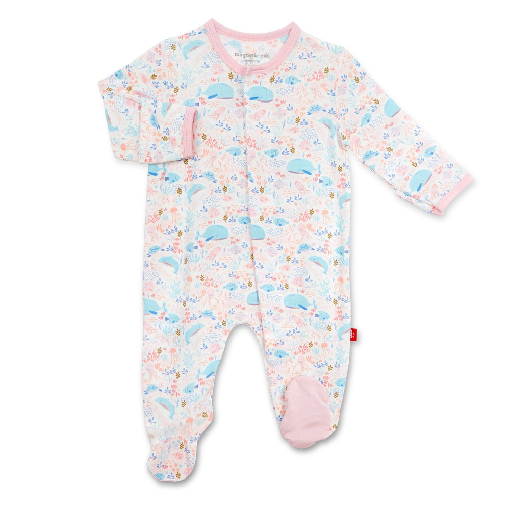 Magnificent Baby, Baby Girl Apparel - Pajamas,  Magnetic Me by Magnificent Baby Sea pf Splendor Modal Magnetic Footie