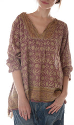Magnolia Pearl European Cotton Hand Block Printed Bondi Blouse with Raw Neck and Pleats, Button Opening at Sleeves