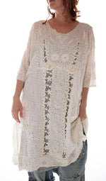 Magnolia Pearl French Linen Coronado Dress with Embroidery and Scalloped Edging Dress 529-Antique White-One Size