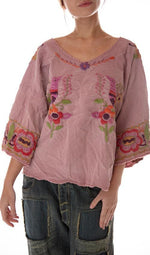 Magnolia Pearl Woven Cotton Marguerite Hand Embroidered Blouse with Fading, Distressing and Raw Edges