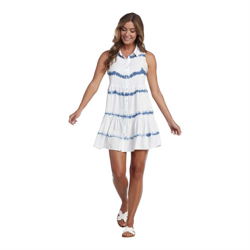 Mud Pie - Blue Stripe Rose Tie Dye Dress - Eden Lifestyle