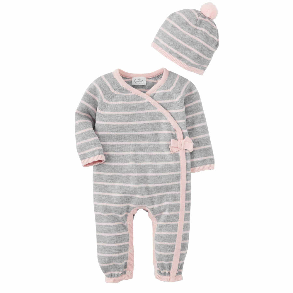 Mud Pie - Pink Grey Knitted Gift Set