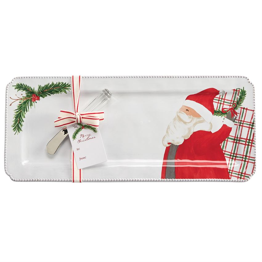 Mud Pie, Home - Serving,  Mud Pie - Santa Tartan Hostess Tray with Cheese Spreader