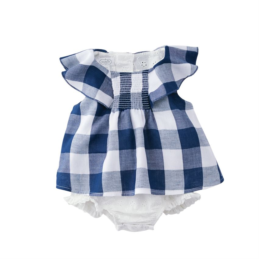 Mud Pie - Smocked Gingham Overlay Crawler