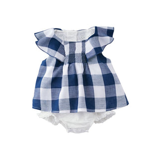 Mud Pie, Baby Girl Apparel - One-Pieces,  Mud Pie - Smocked Gingham Overlay Crawler