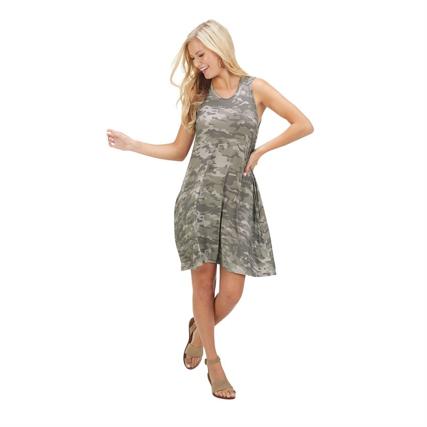 Mud Pie Maya Swing Dress in Grey Camo