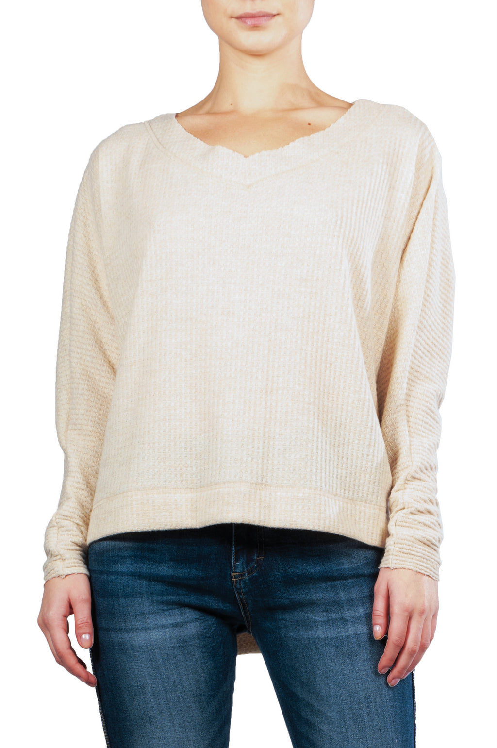 Oatmeal High Low V-Neck Top