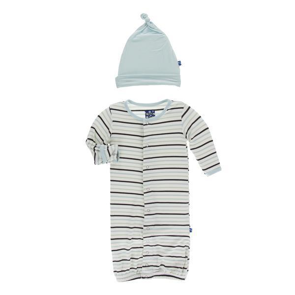 KicKee Pants - Print Layette Gown Converter & Knot Hat Set - Tuscan Afternoon Stripe-Baby Boy Apparel - Pajamas-KicKee Pants-0-3M-Eden Lifestyle