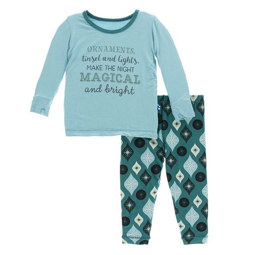 KicKee Pants, Footie, Eden Lifestyle, KicKee Pants - Holiday Long Sleeve Pajama Set - Cedar Vintage Ornaments