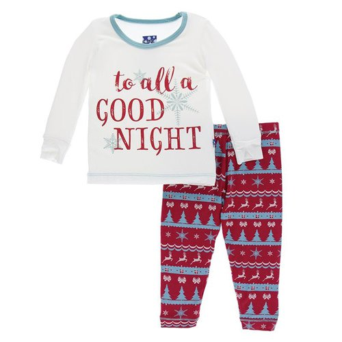 KicKee Pants, Baby Girl Apparel - Pajamas,  KicKee Pants - Holiday Long Sleeve Pajama Set - Nordic Print
