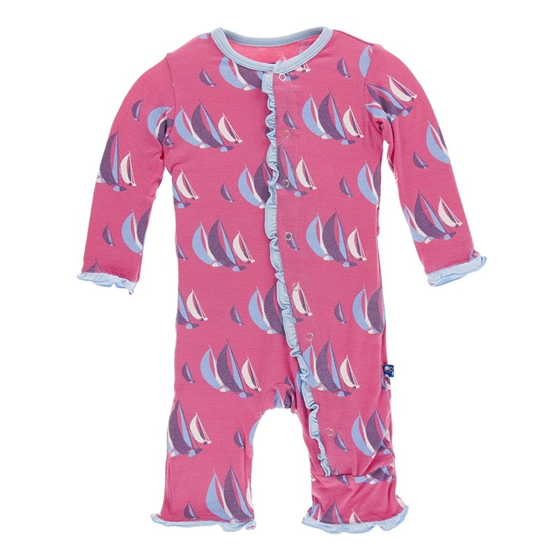 KicKee Pants, Romper, Eden Lifestyle, Print Classic Ruffle Coverall in Flamingo Sailing Race