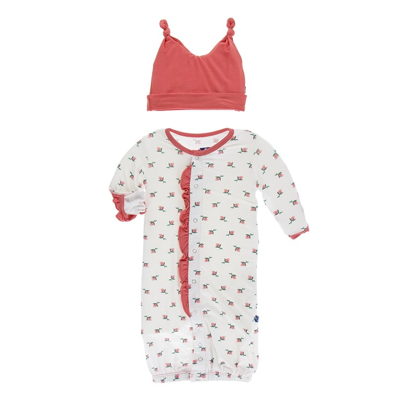 Print Layette Gown Converter & Knot Hat Set in Natural Rose Bud