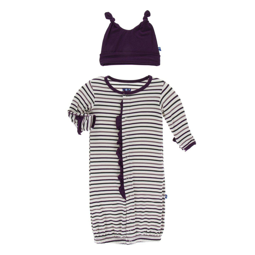 KicKee Pants - Layette Gown Converter & Knotted Hat - Tuscan Vineyard Stripe-Pajamas-KicKee Pants-0-3M-Eden Lifestyle