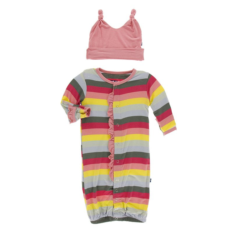 KicKee Pants, Baby Girl Apparel - Pajamas,  Kickee Pants Print Ruffle Layette Gown Converter & Knot Hat Set in Biology Stripe