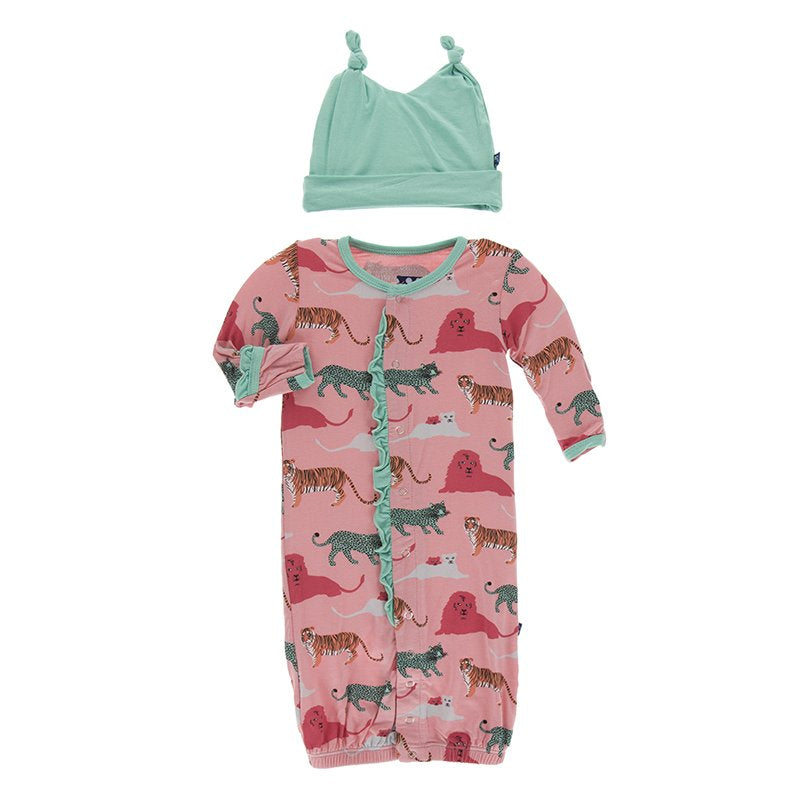 KicKee Pants, Baby Girl Apparel - Pajamas,  Kickee Pants Print Ruffle Layette Gown Converter & Knot Hat Set in Strawberry Big Cats
