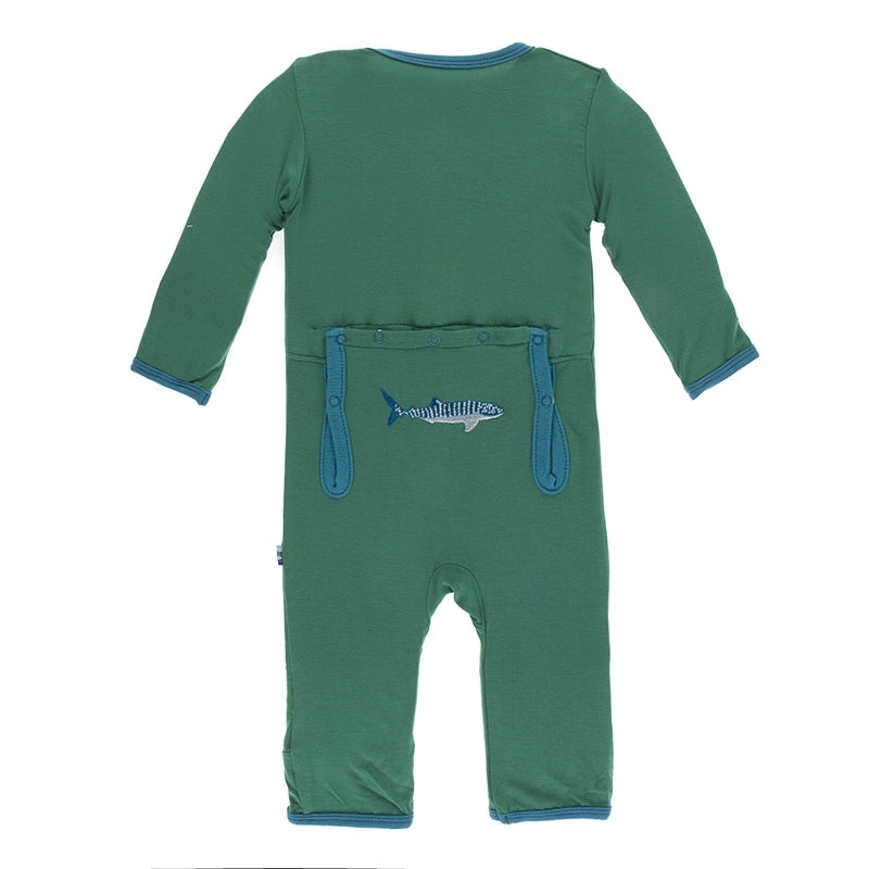 KicKee Pants, Romper, Eden Lifestyle, Applique Coverall with Zipper in Shady Glade Whale Shark