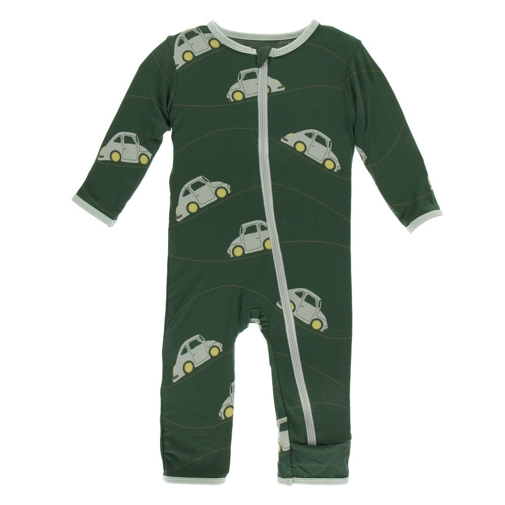 Kickee Pants - Coverall with Zipper - Topiary Italian Car-Baby Boy Apparel - One-Pieces-KicKee Pants-6-9M-Eden Lifestyle