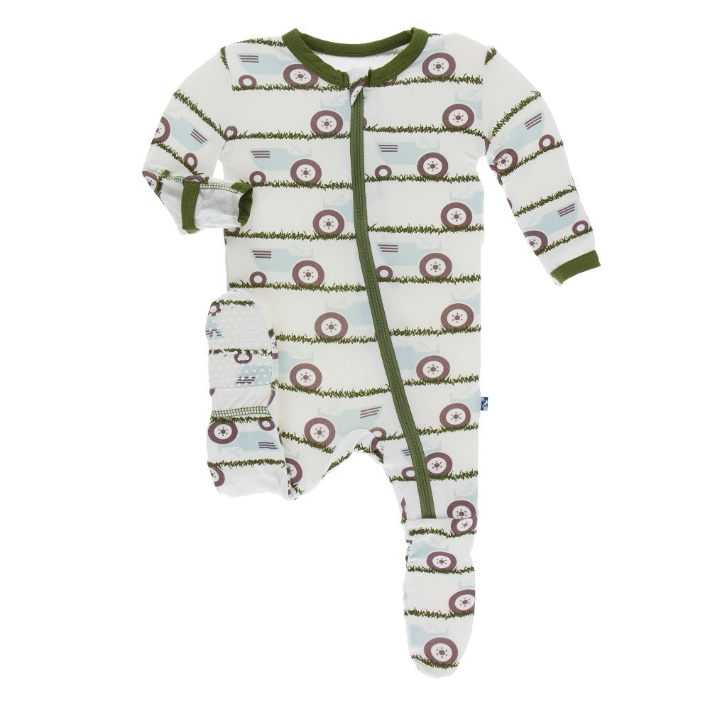 Kickee Pants - Print Footie with Zipper - Natural Tractor and Grass-Baby Boy Apparel - One-Pieces-KicKee Pants-0-3M-Eden Lifestyle