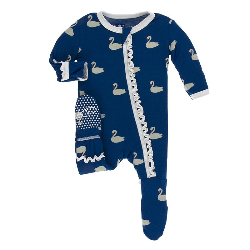 Print Muffin Ruffle Footie with Zipper in Navy Queen Swans