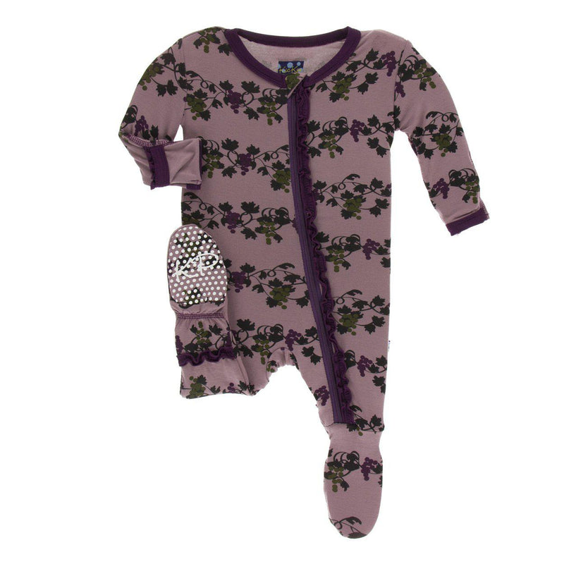 Kickee Pants - Print Muffin Ruffle Footie - Raisin Grape Vines-Baby Girl Apparel - One-Pieces-KicKee Pants-0-3M-Eden Lifestyle