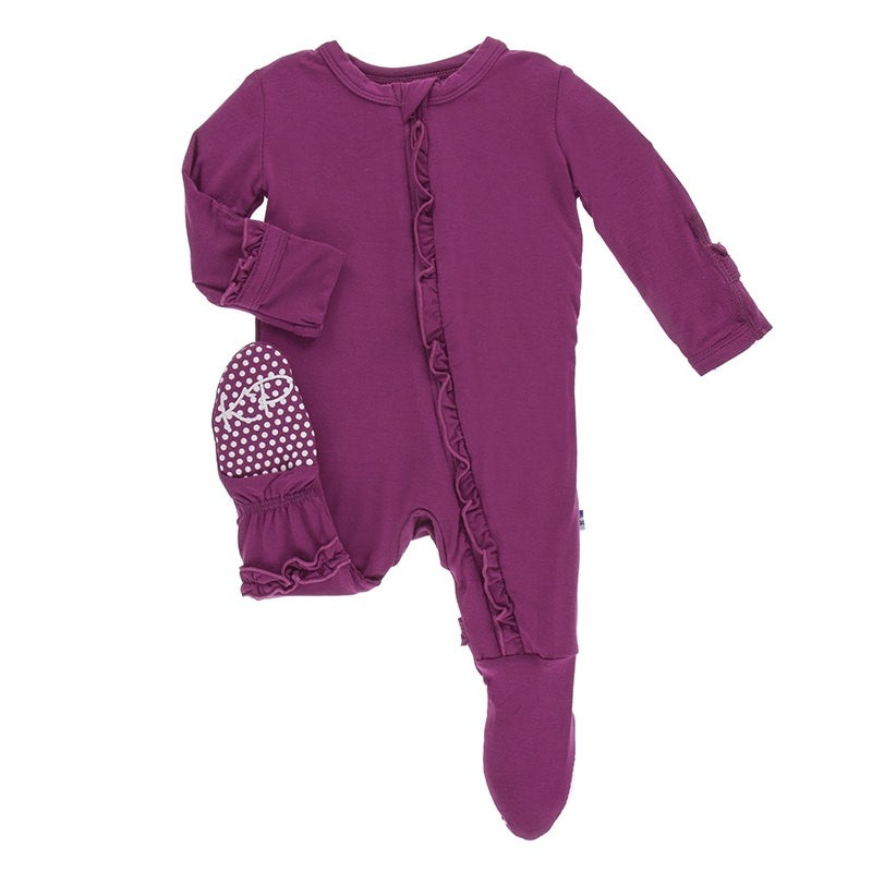 Classic Ruffle Footie with Zipper in Orchid
