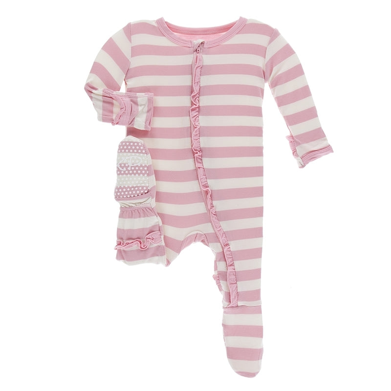 KicKee Pants - Layatte Classic Ruffle Footie with Zipper-Baby Girl Apparel - One-Pieces-KicKee Pants-Newborn-Eden Lifestyle