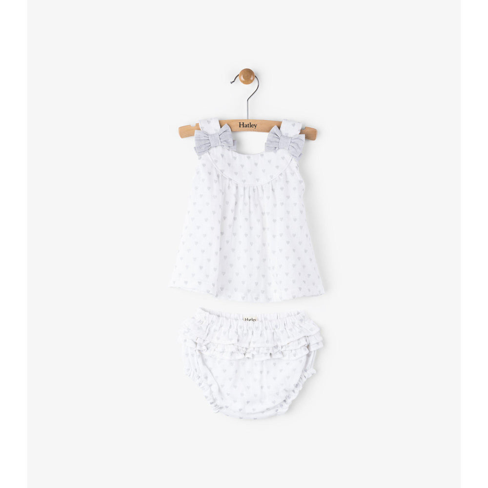 Hatley, Baby Girl Apparel - Dresses,  Hatley Grey Hearts Strappy Mini Bloomer Set