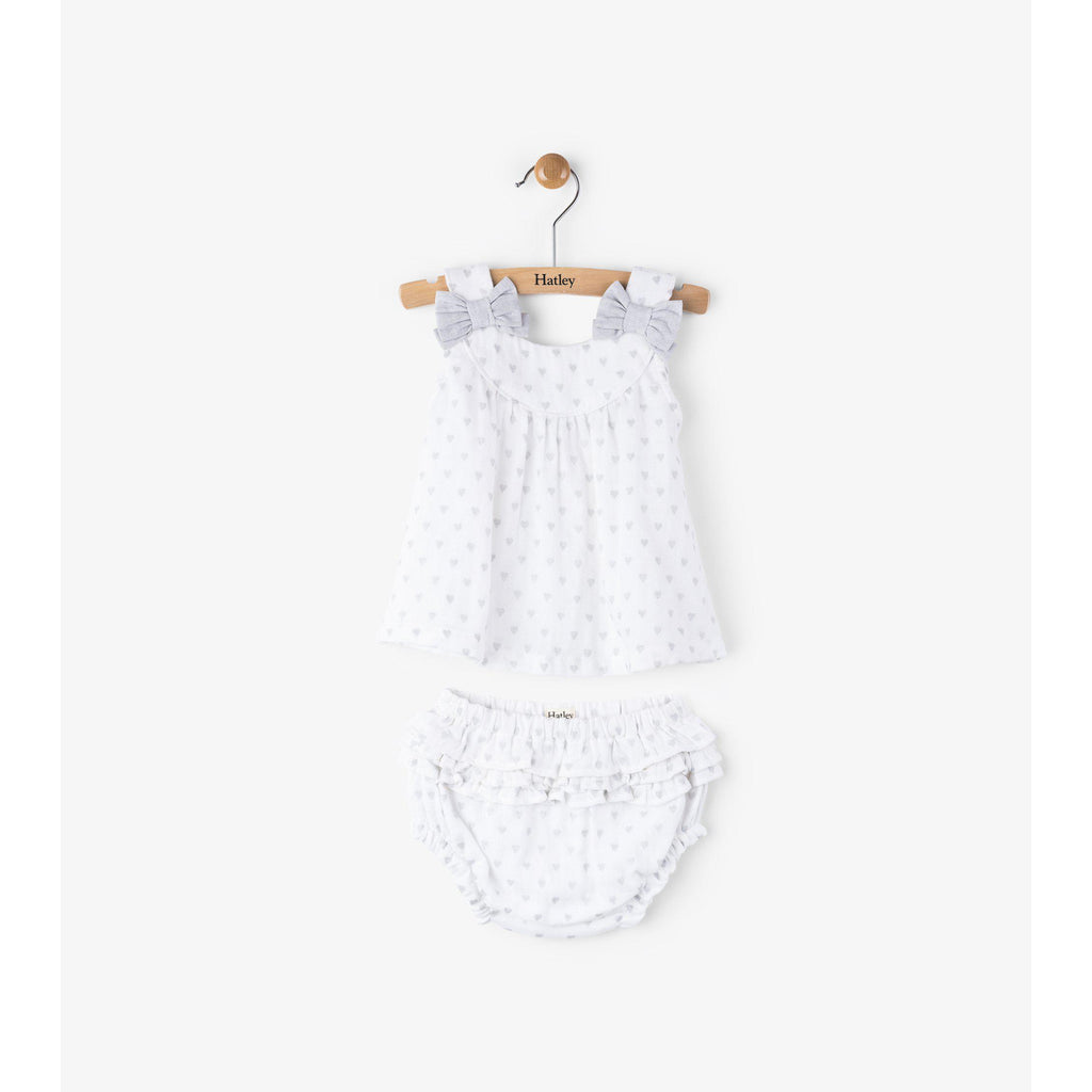 Hatley, Dress,  Grey Hearts Strappy Mini Bloomer Set