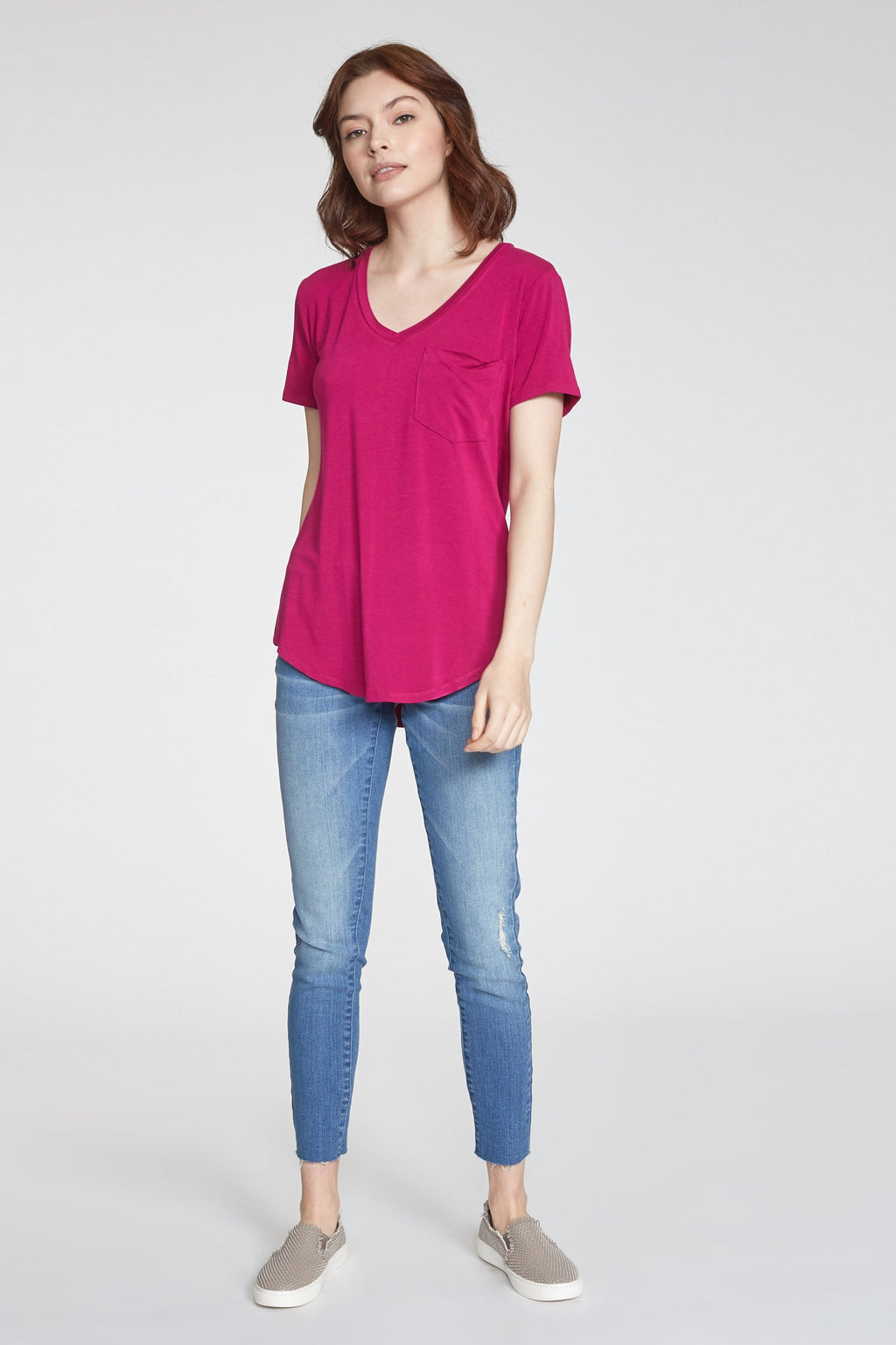 Phoenix Pocket V-Neck Hot Pink Tee