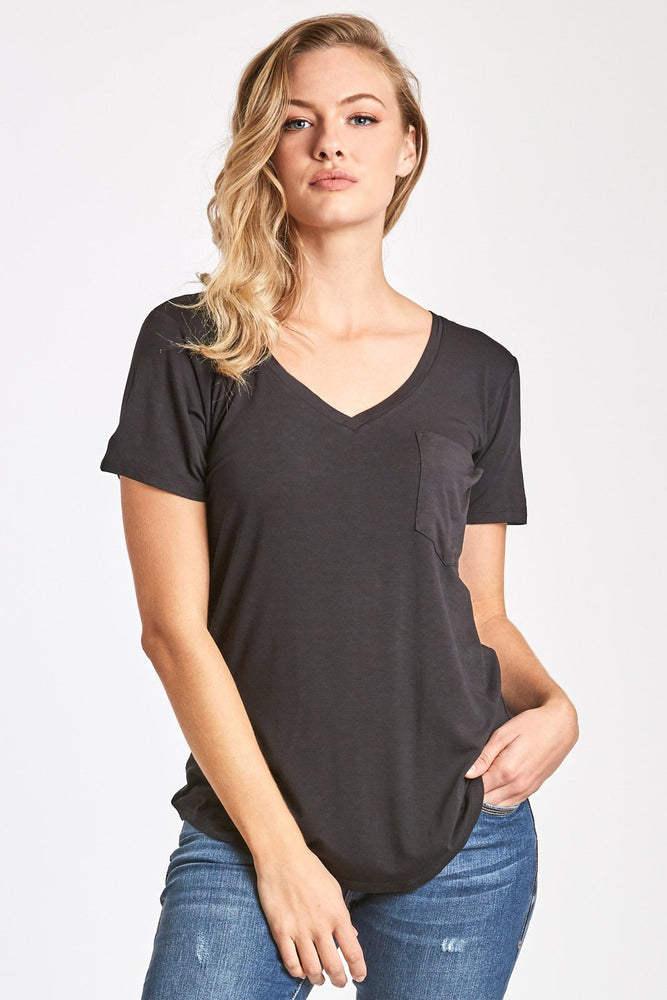 Another Love, Women - Tees,  Phoenix Pocket V-Neck Black Tee