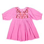 Pink Chicken, Girl - Dresses,  Pink Chicken Arianna Dress - Cyclamen Pink with Embroidery