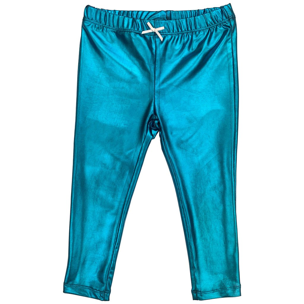 Pink Chicken Lame Legging Turquoise
