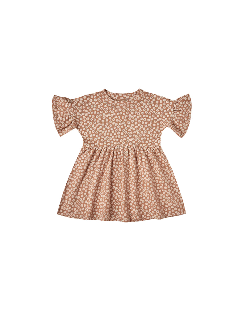 Rylee and Cru Jersey Babydoll Dress Ditsy Terracotta - Eden Lifestyle