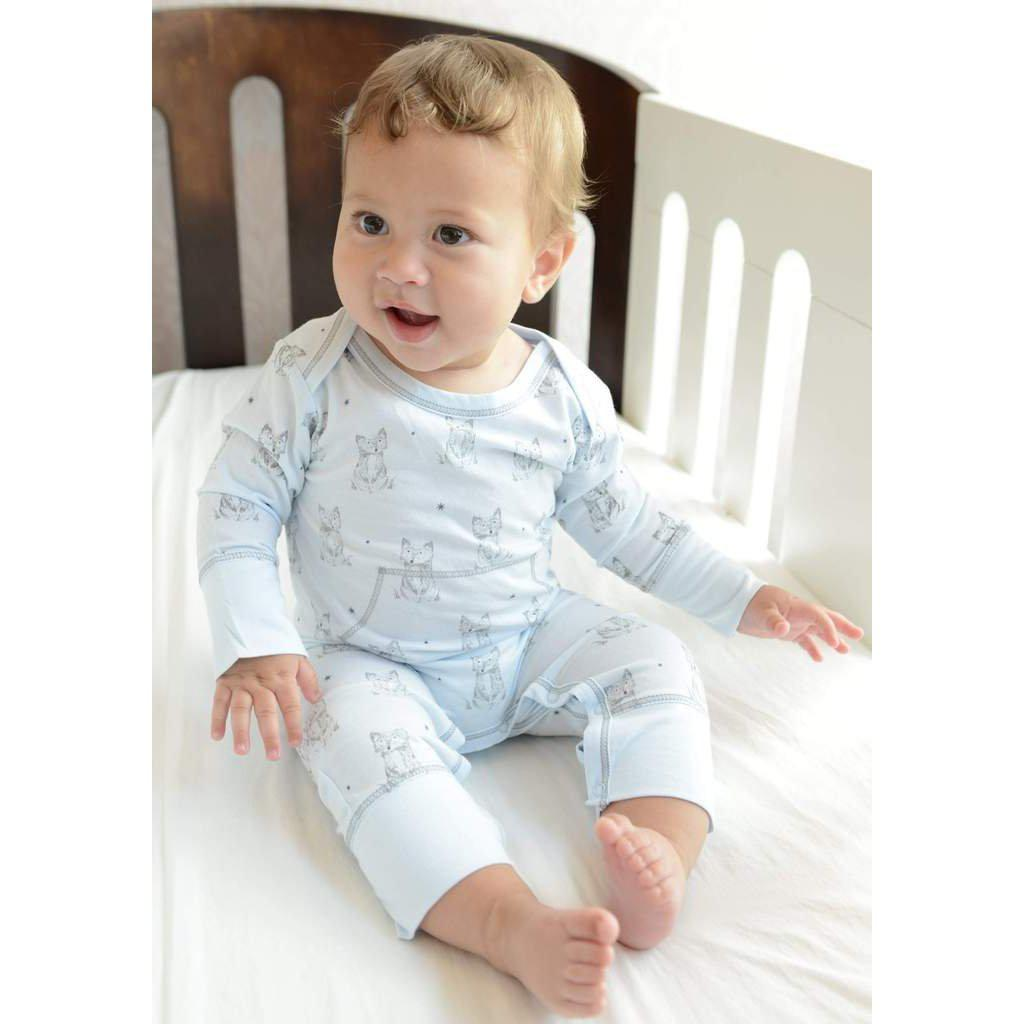 Faux Kangaroo~Patient Fox on Baby Blue-Baby Boy Apparel - Rompers-Feather Baby-6-9M-Eden Lifestyle