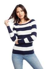 Chaser, Women - Shirts & Tops,  Chaser Rib Sweaters Long Sleeve Open Neck Reglan Pullover Sweater - Stripe