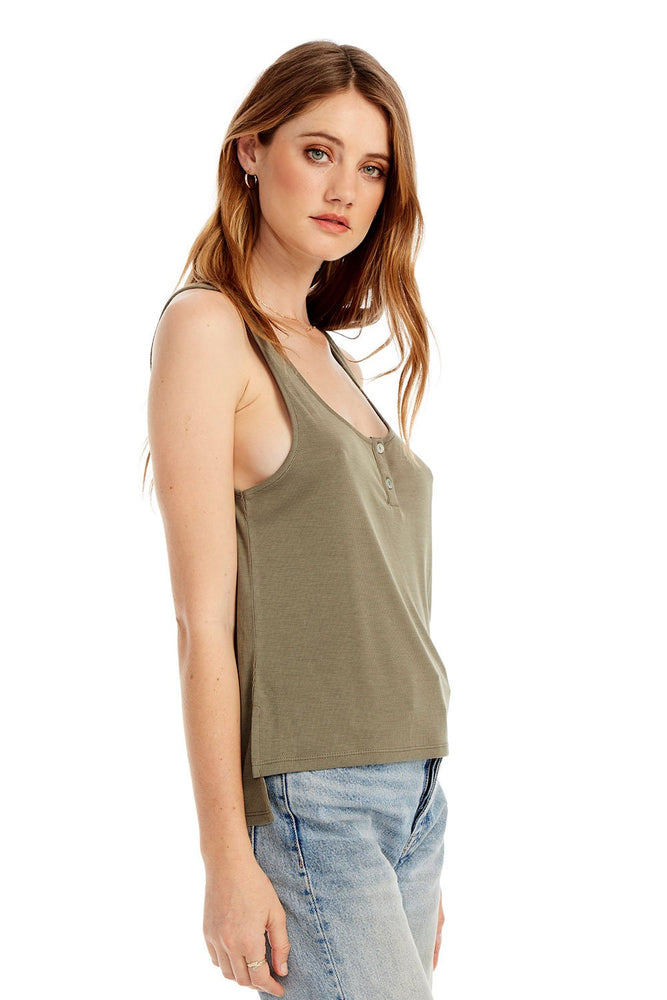Eden Lifestyle, ,  Saltwater Luxe Slim Tank with Front Placket in Olive Green