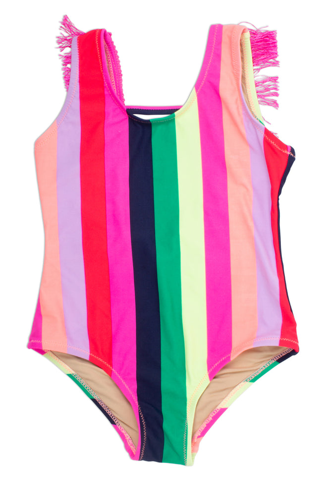 Shade Critters Fringe Back One Piece - Multi Stripe Baby