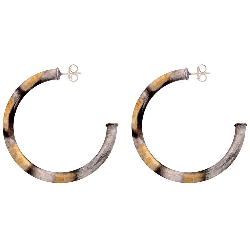 Sheila Fajl - Arlene Thick Small Silver Burnished Hoop Earrings