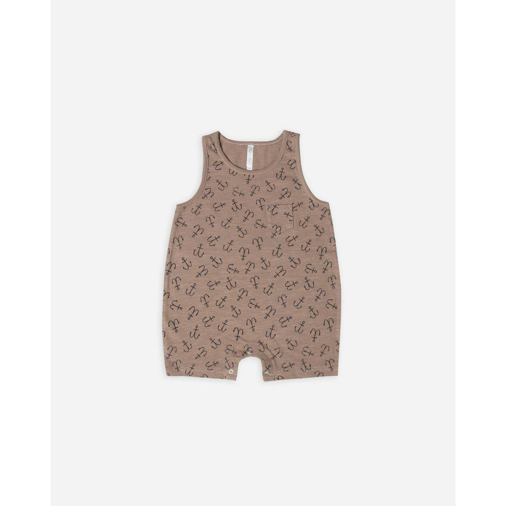 Rylee & Cru Sleeveless Onepiece - Cocoa Anchors-Baby Boy Apparel - Rompers-Rylee and Cru-0-3M-Cocoa-Eden Lifestyle