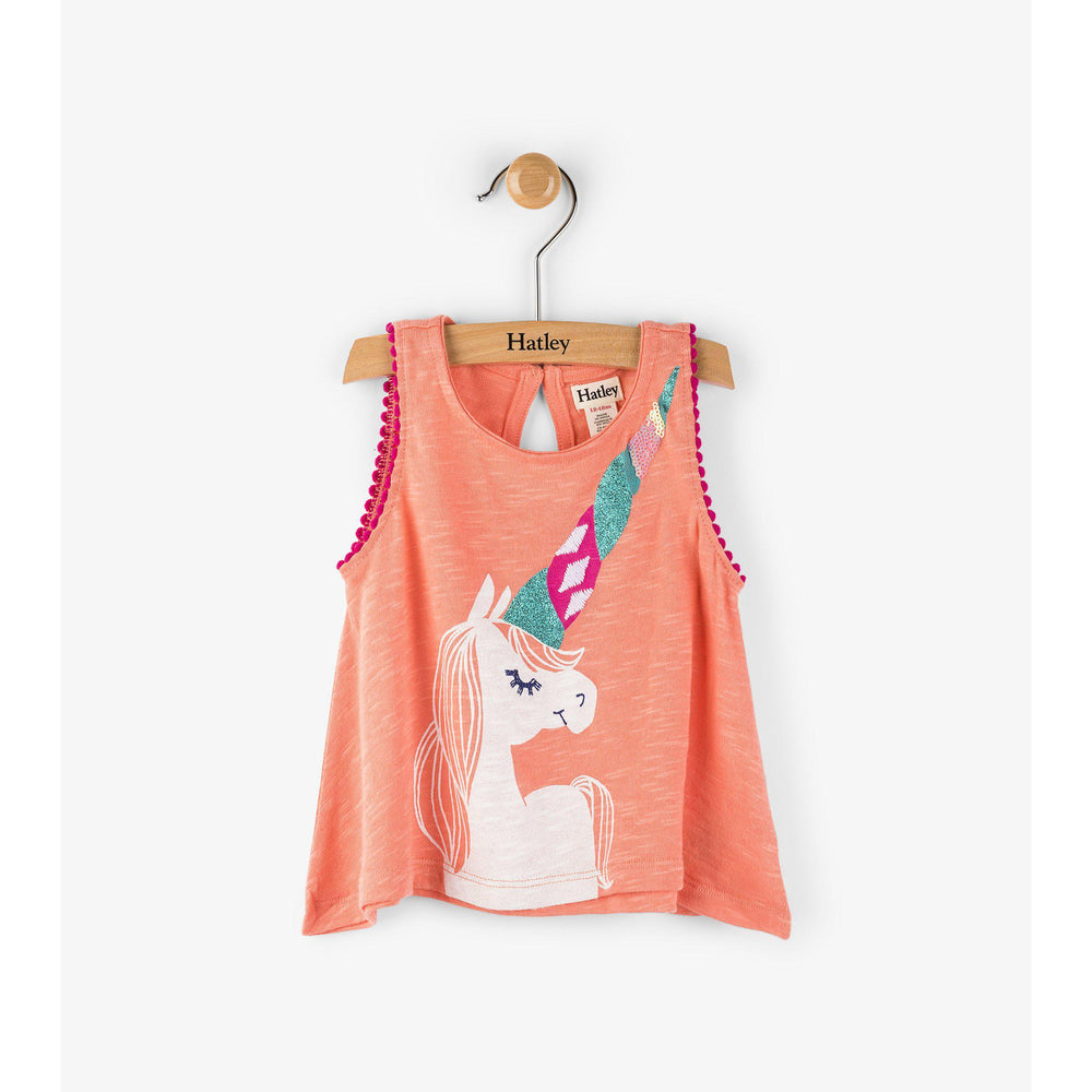 Hatley Peach Unicorn Mini Tank-Baby Girl Apparel - Shirts & Tops-Hatley-12-18M-Eden Lifestyle