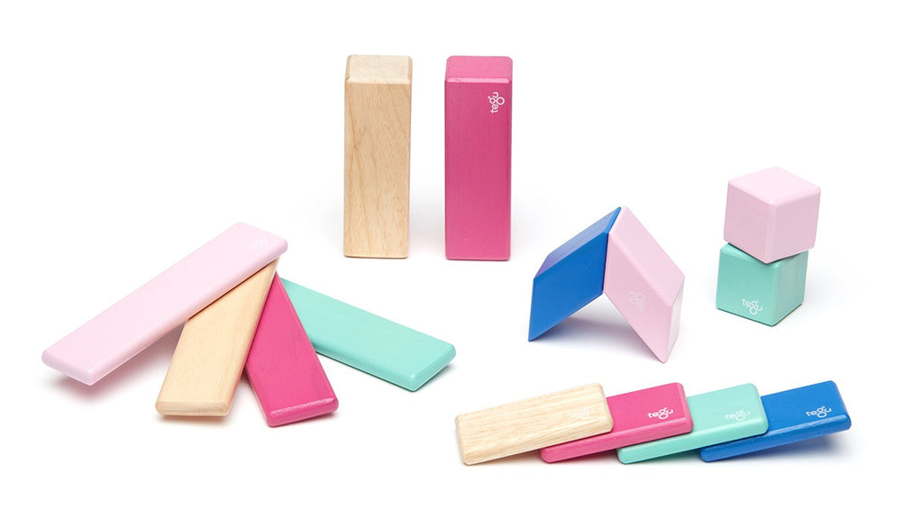 Tegu Magnetic Wooden Blocks - 14 Piece Set - Blossom