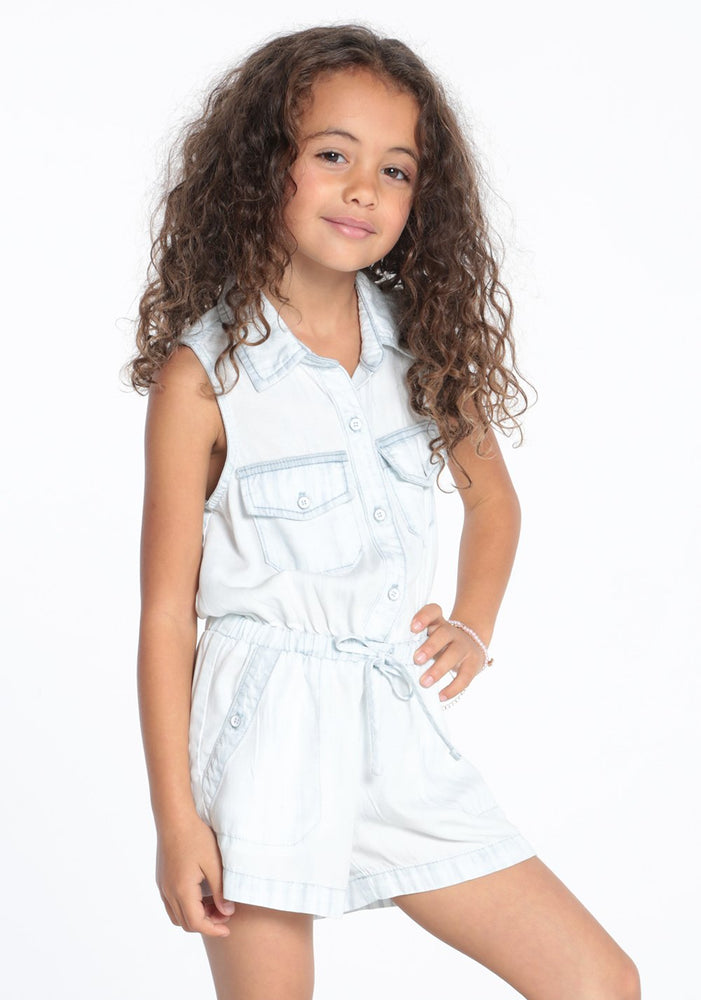 Utility Pocket Romper in White Out Denim Glow Wash
