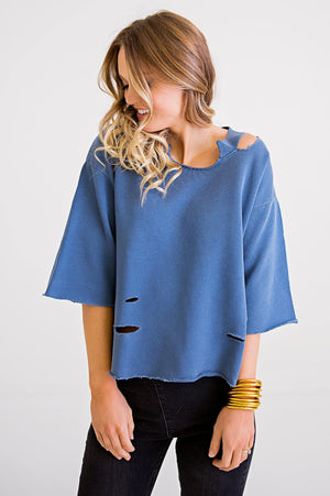 Karlie, Women - Shirts & Tops,  Blue Distressed Sweatshirt