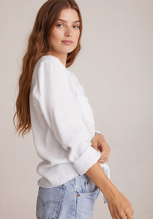 Two Pocket Tie Front White Out Top
